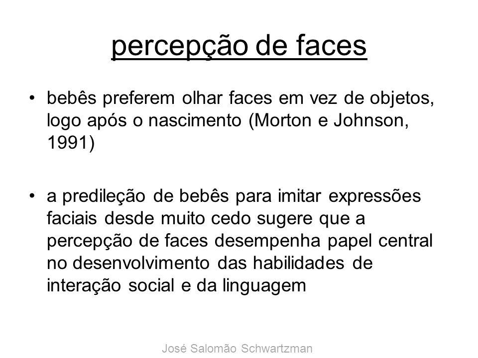 percepção de faces bebês preferem olhar faces em vez de objetos, logo após o nascimento (Morton e Johnson, 1991)