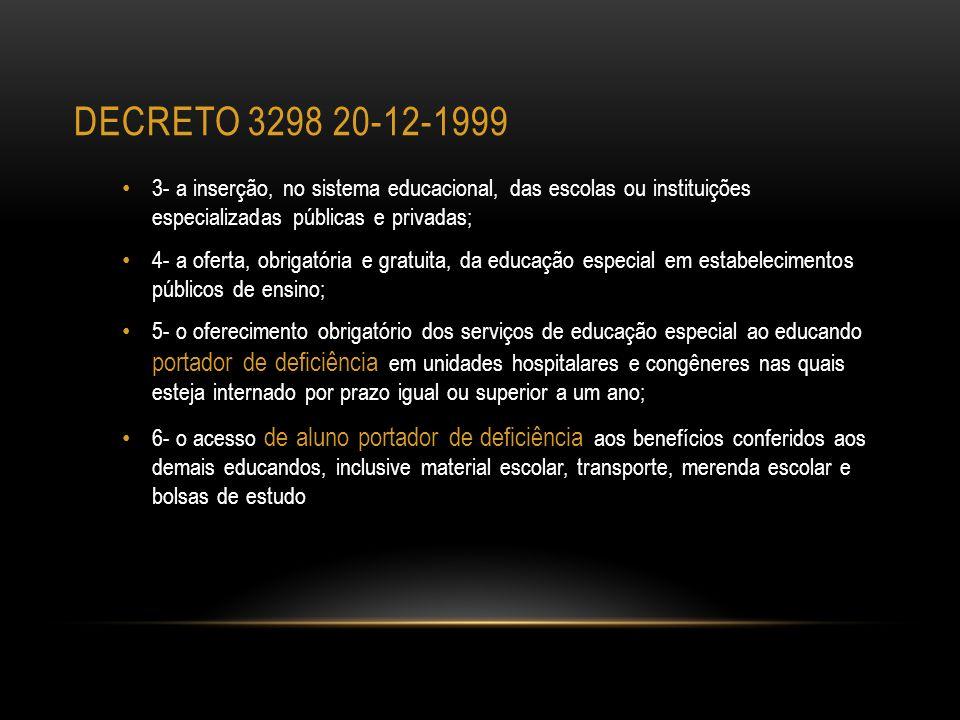 decreto 3298 20-12-1999 3- a inserção, no sistema educacional, das escolas ou instituições especializadas públicas e privadas;