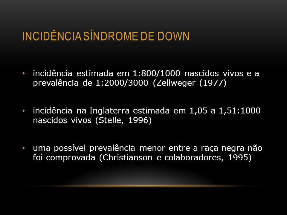 incidência síndrome de Down