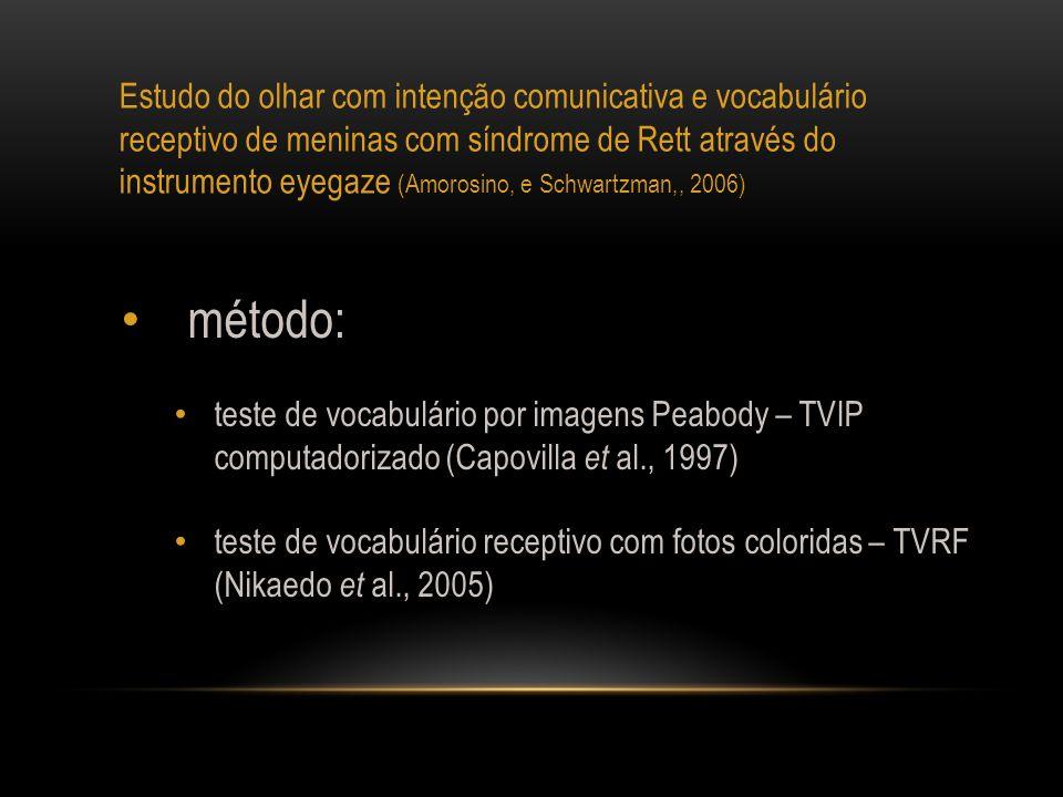 Estudo do olhar com intenção comunicativa e vocabulário receptivo de meninas com síndrome de Rett através do instrumento eyegaze (Amorosino, e Schwartzman,, 2006)