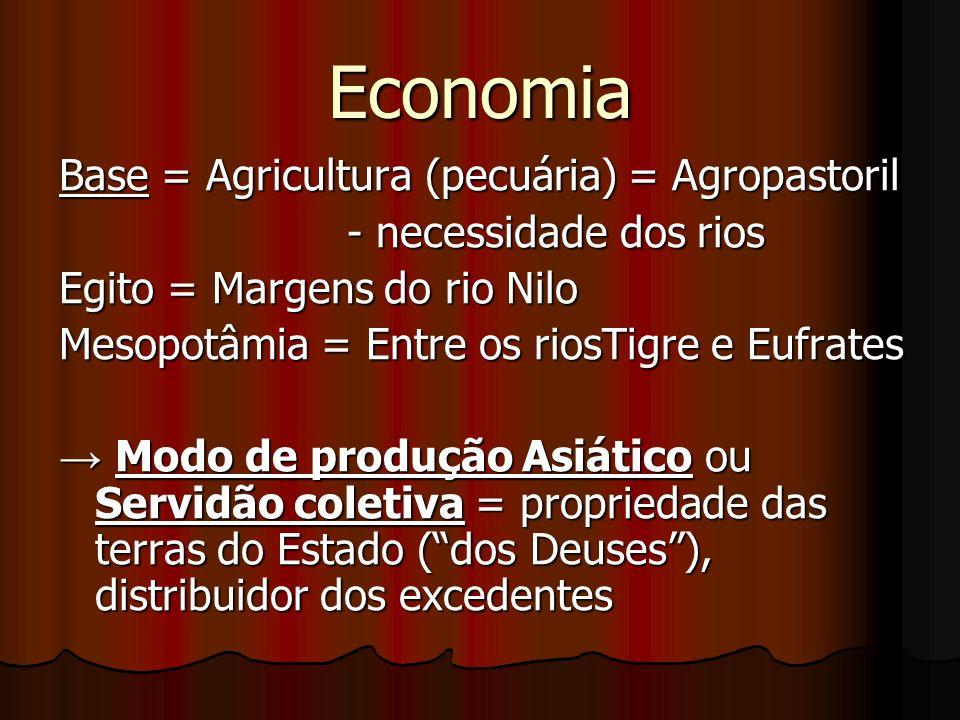 Economia Base = Agricultura (pecuária) = Agropastoril