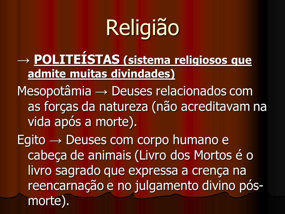 Religião → POLITEÍSTAS (sistema religiosos que admite muitas divindades)