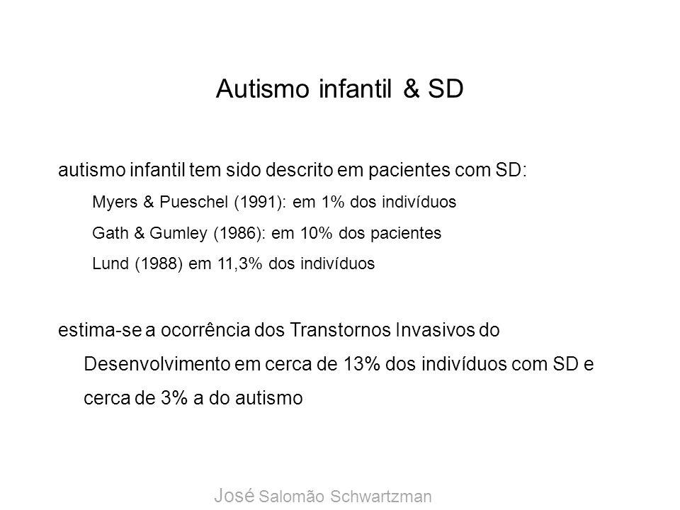 Autismo infantil & SD autismo infantil tem sido descrito em pacientes com SD: Myers & Pueschel (1991): em 1% dos indivíduos.