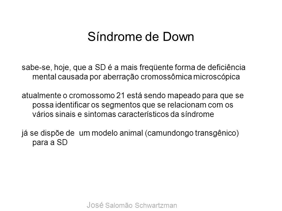 Síndrome de Down sabe-se, hoje, que a SD é a mais freqüente forma de deficiência mental causada por aberração cromossômica microscópica.