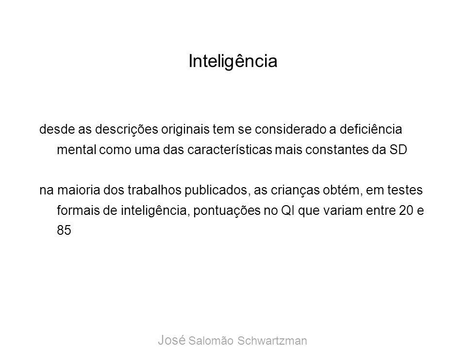 Inteligência desde as descrições originais tem se considerado a deficiência mental como uma das características mais constantes da SD.