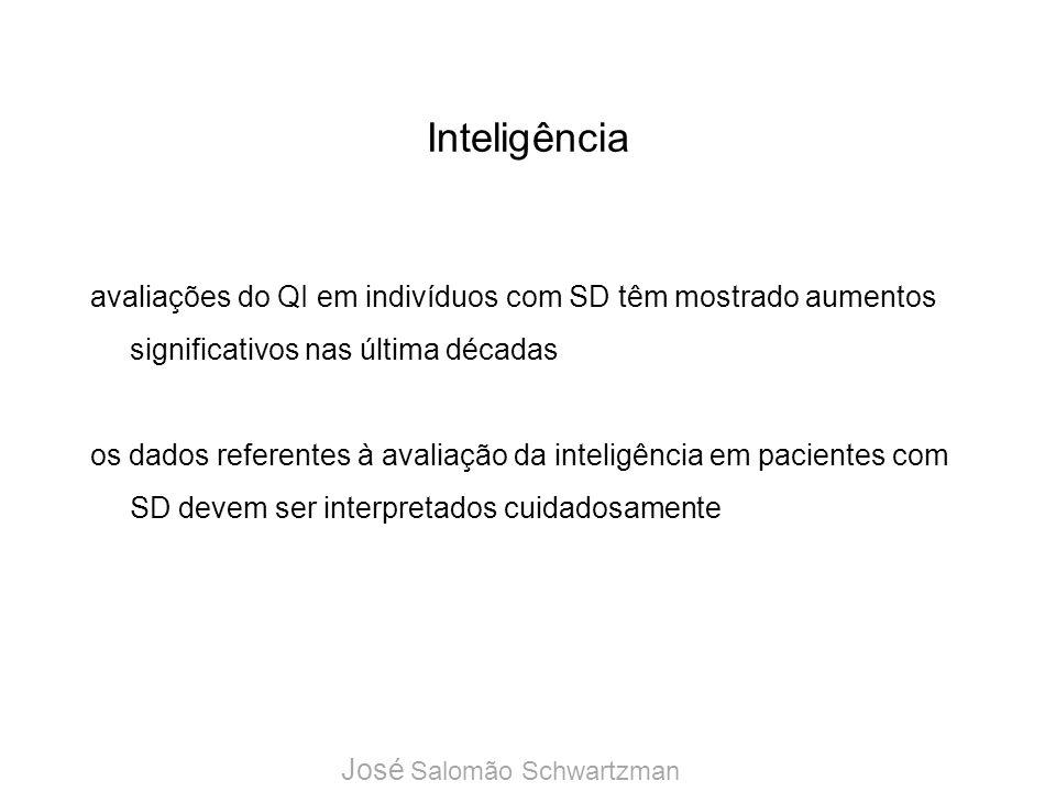 Inteligênciaavaliações do QI em indivíduos com SD têm mostrado aumentos significativos nas última décadas.