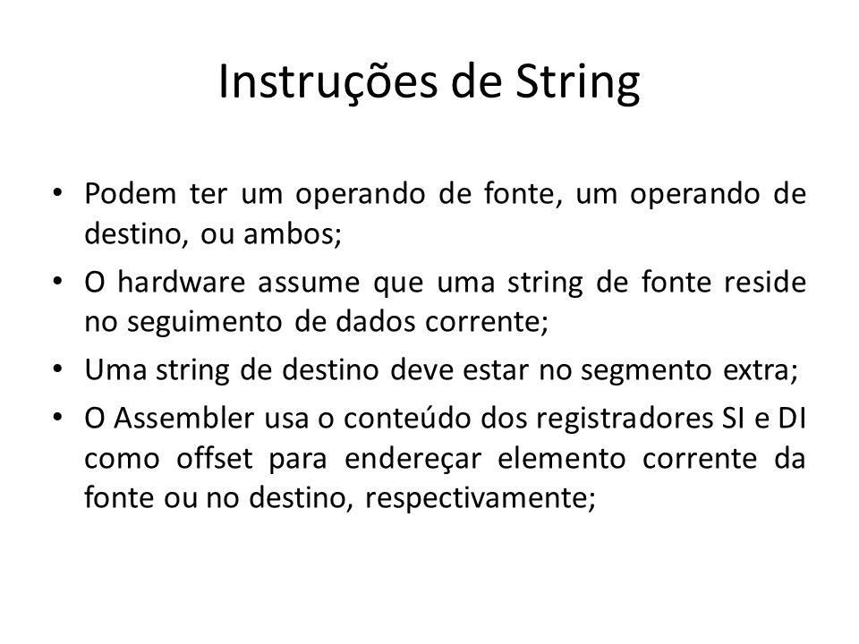 Instruções de String Podem ter um operando de fonte, um operando de destino, ou ambos;
