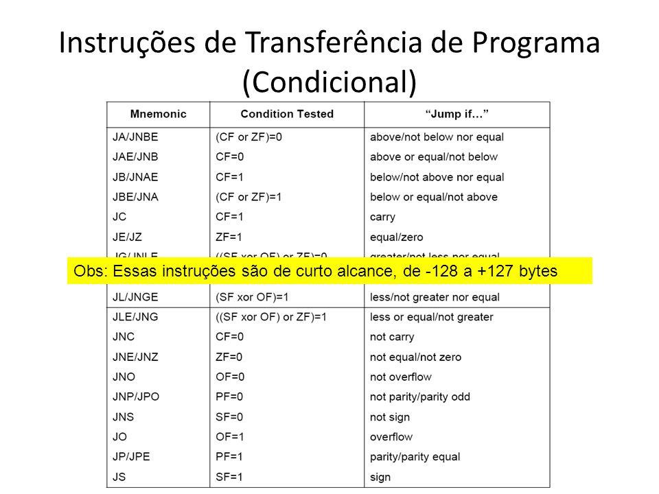 Instruções de Transferência de Programa (Condicional)