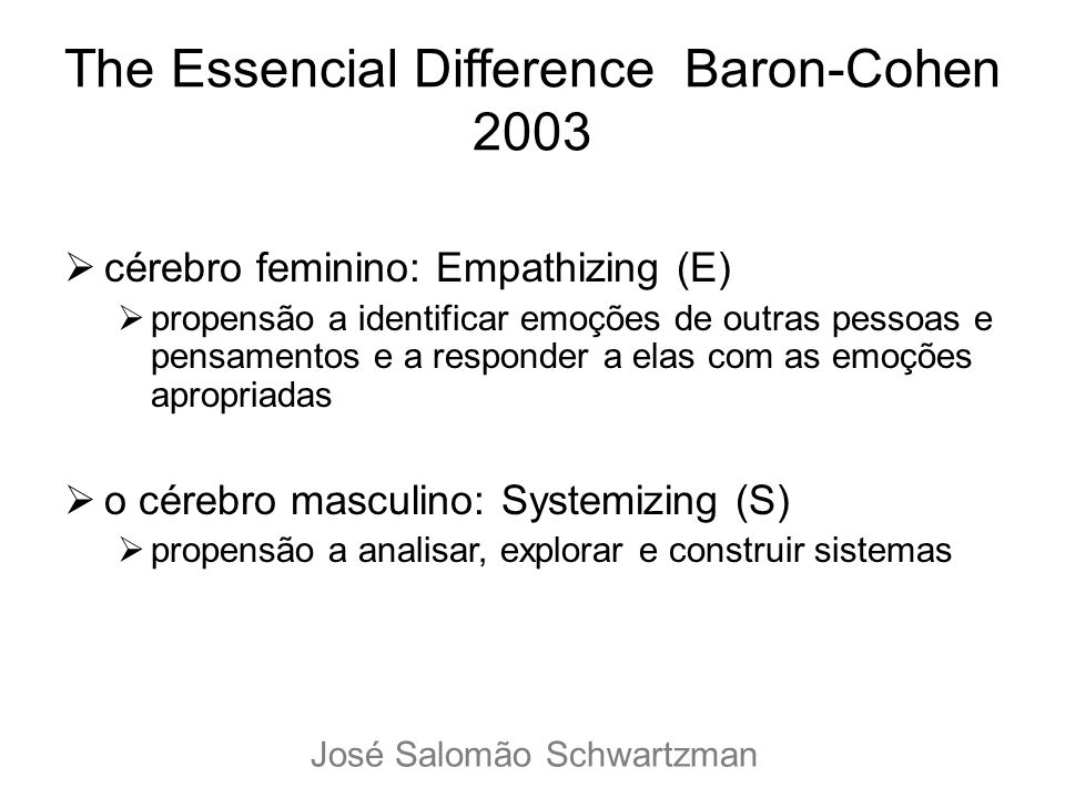 The Essencial Difference Baron-Cohen 2003