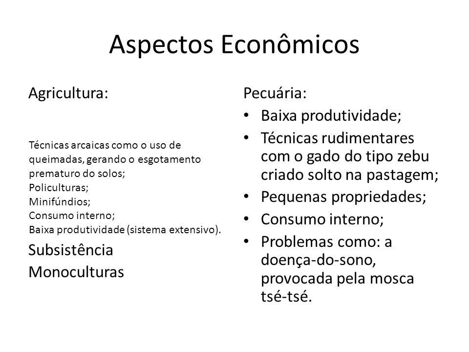 Aspectos Econômicos Agricultura: Subsistência Monoculturas Pecuária: