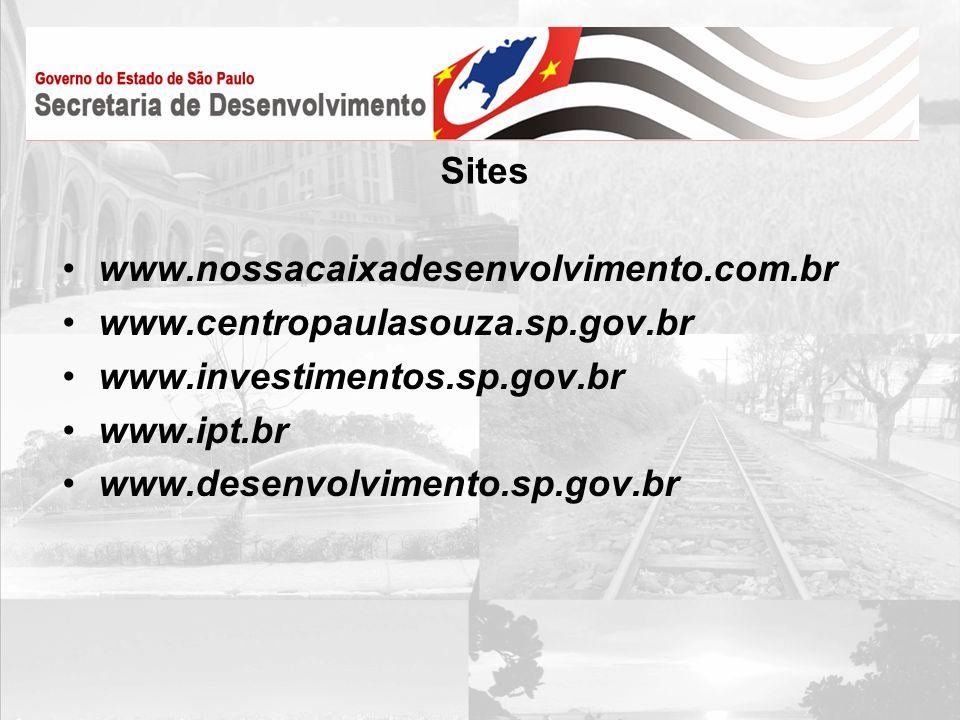 Sites www.nossacaixadesenvolvimento.com.br. www.centropaulasouza.sp.gov.br. www.investimentos.sp.gov.br.