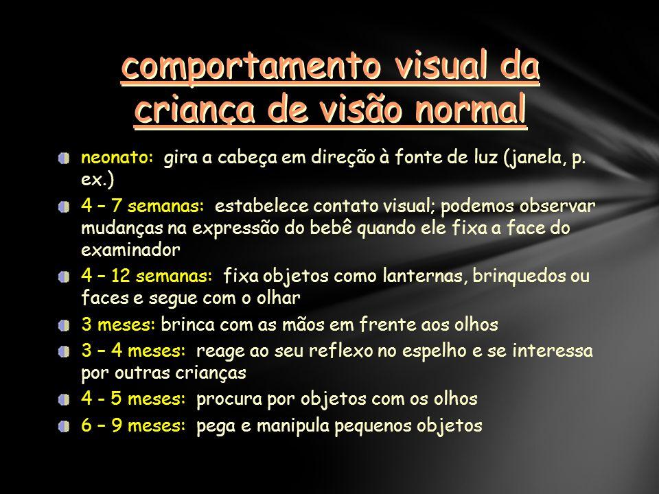 comportamento visual da criança de visão normal