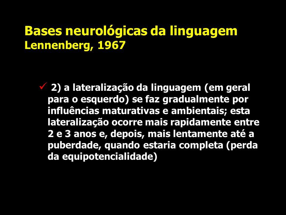 Bases neurológicas da linguagem Lennenberg, 1967