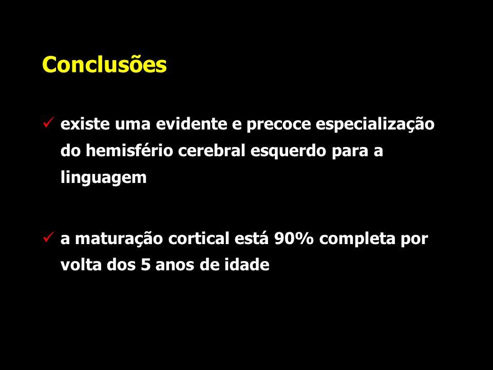 Conclusões existe uma evidente e precoce especialização do hemisfério cerebral esquerdo para a linguagem.