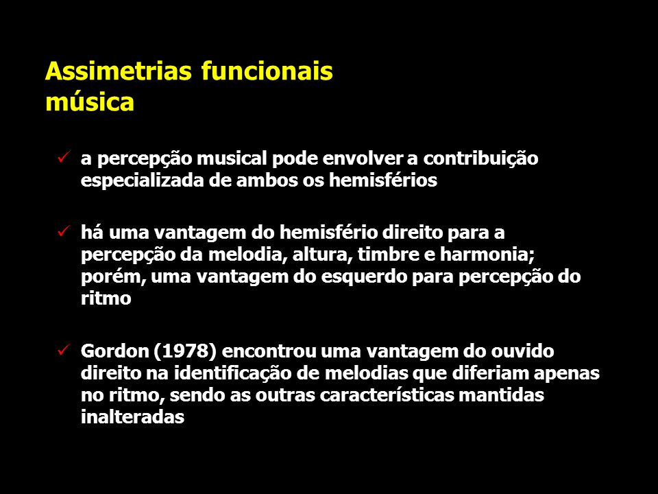 Assimetrias funcionais música