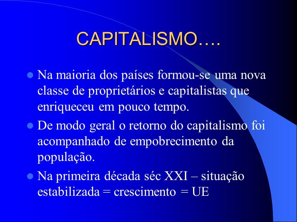 CAPITALISMO…. Na maioria dos países formou-se uma nova classe de proprietários e capitalistas que enriqueceu em pouco tempo.