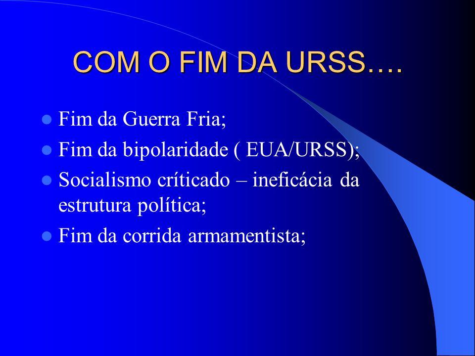 COM O FIM DA URSS…. Fim da Guerra Fria;