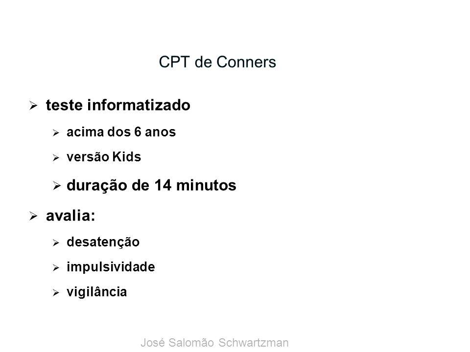 CPT de Conners teste informatizado duração de 14 minutos avalia:
