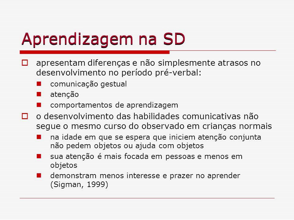 Aprendizagem na SDapresentam diferenças e não simplesmente atrasos no desenvolvimento no período pré-verbal: