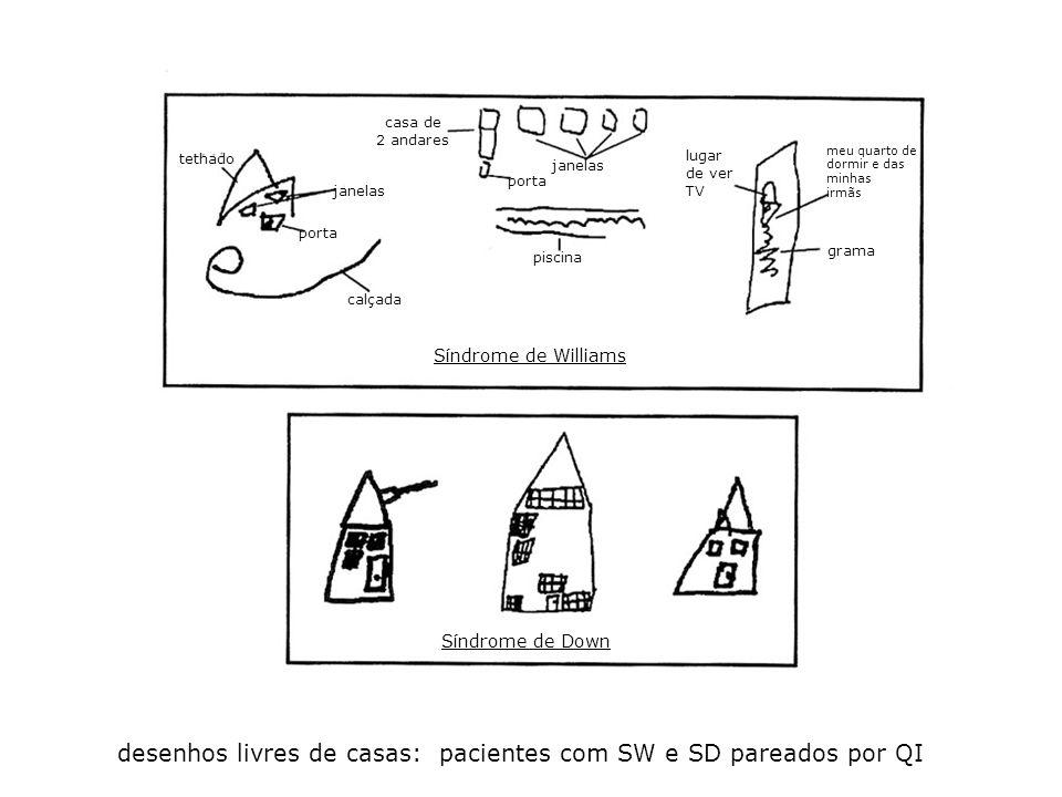 desenhos livres de casas: pacientes com SW e SD pareados por QI