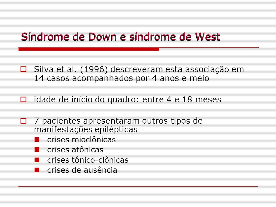 Síndrome de Down e síndrome de West