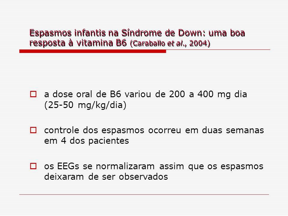 a dose oral de B6 variou de 200 a 400 mg dia (25-50 mg/kg/dia)