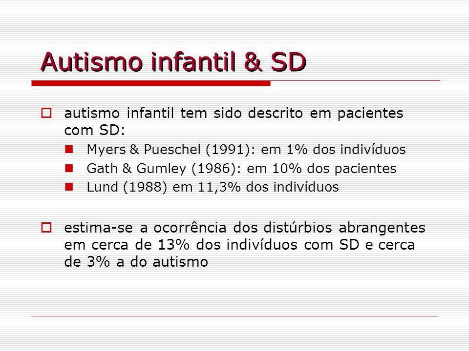 Autismo infantil & SDautismo infantil tem sido descrito em pacientes com SD: Myers & Pueschel (1991): em 1% dos indivíduos.