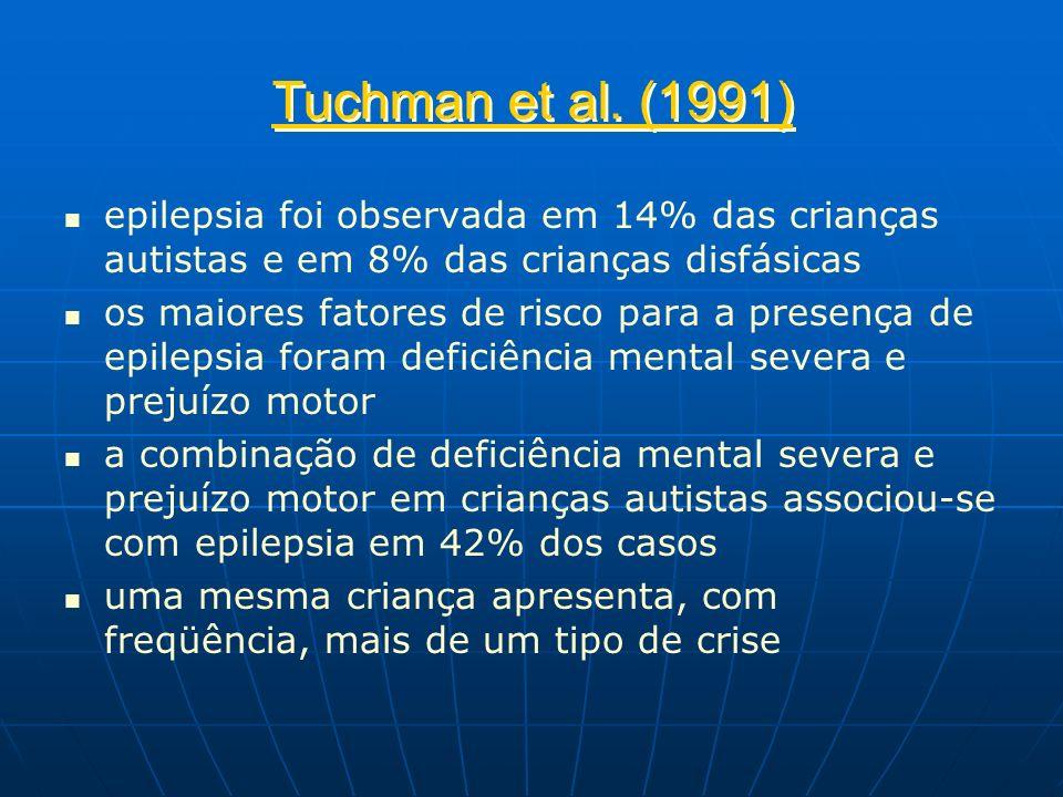 Tuchman et al. (1991) epilepsia foi observada em 14% das crianças autistas e em 8% das crianças disfásicas.