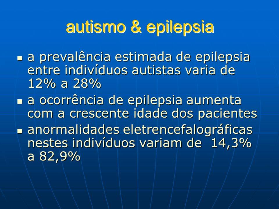 autismo & epilepsiaa prevalência estimada de epilepsia entre indivíduos autistas varia de 12% a 28%