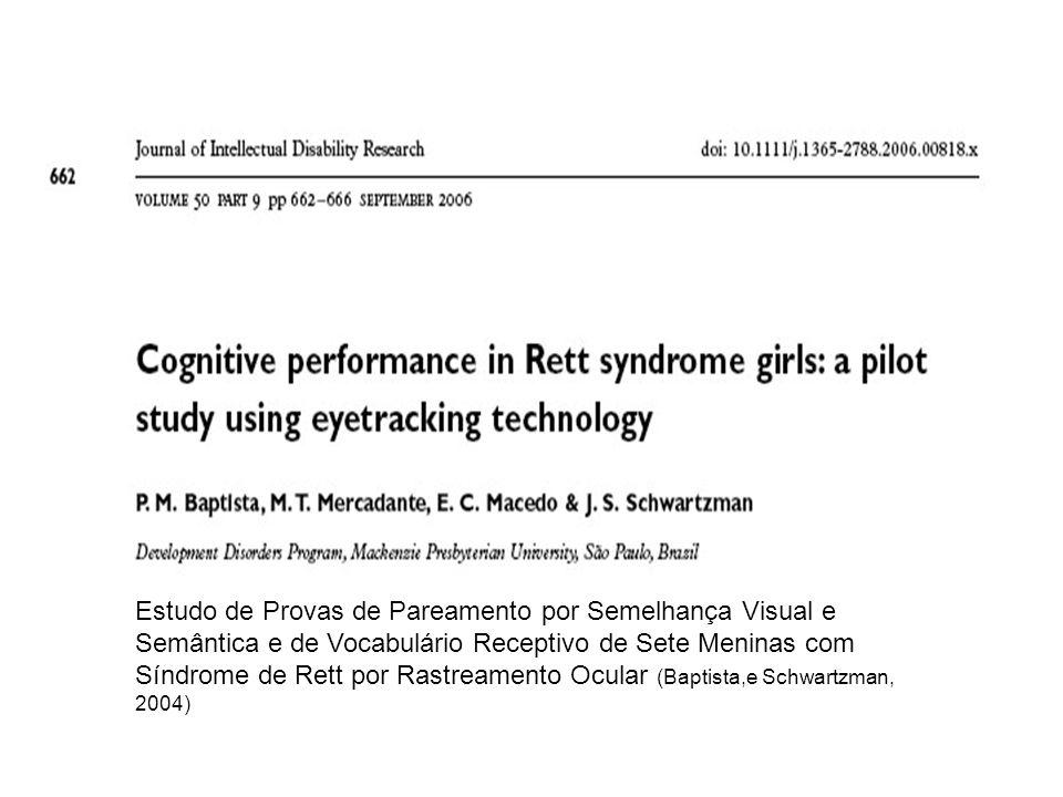 Estudo de Provas de Pareamento por Semelhança Visual e Semântica e de Vocabulário Receptivo de Sete Meninas com Síndrome de Rett por Rastreamento Ocular (Baptista,e Schwartzman, 2004)