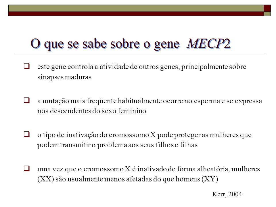O que se sabe sobre o gene MECP2