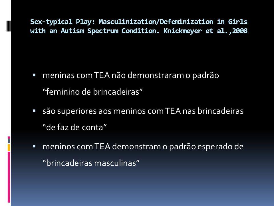 meninas com TEA não demonstraram o padrão feminino de brincadeiras