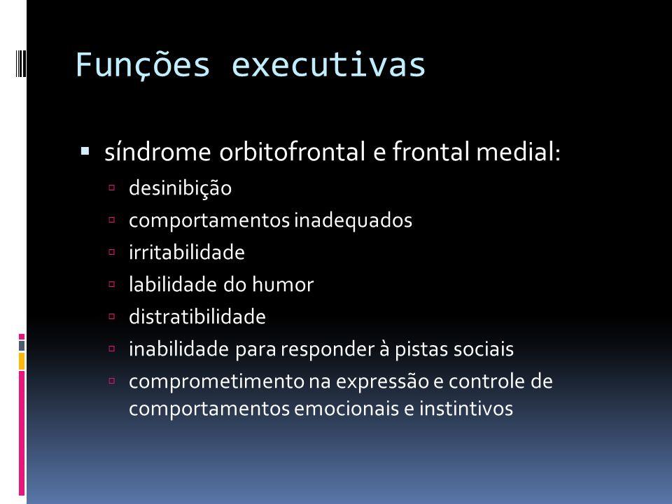 Funções executivas síndrome orbitofrontal e frontal medial: