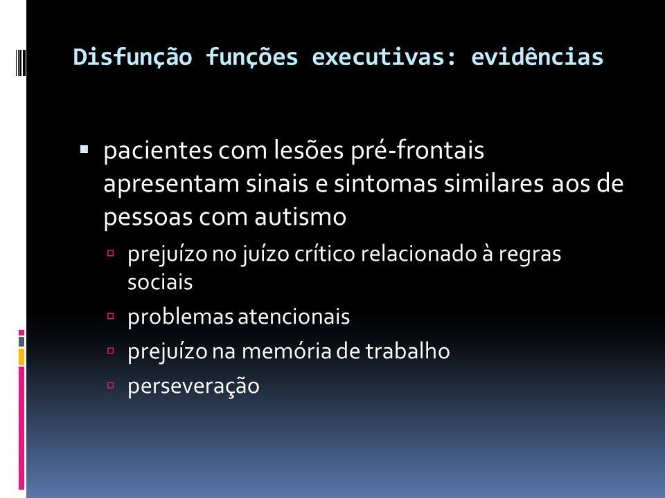Disfunção funções executivas: evidências