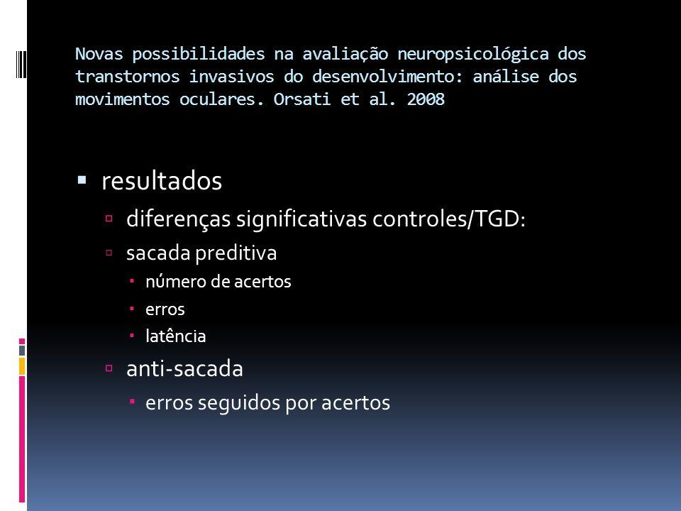 resultados diferenças significativas controles/TGD: anti-sacada