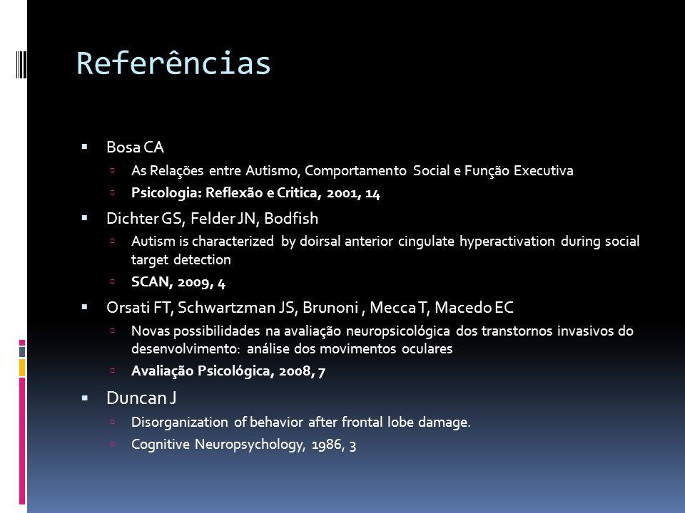 Referências Duncan J Bosa CA Dichter GS, Felder JN, Bodfish