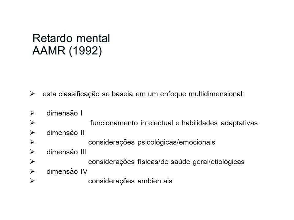 Retardo mental AAMR (1992)esta classificação se baseia em um enfoque multidimensional: dimensão I.