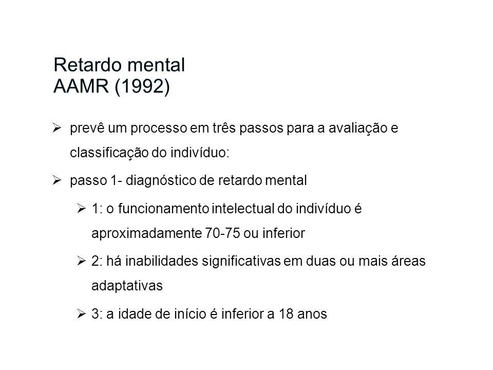 Retardo mental AAMR (1992)prevê um processo em três passos para a avaliação e classificação do indivíduo: