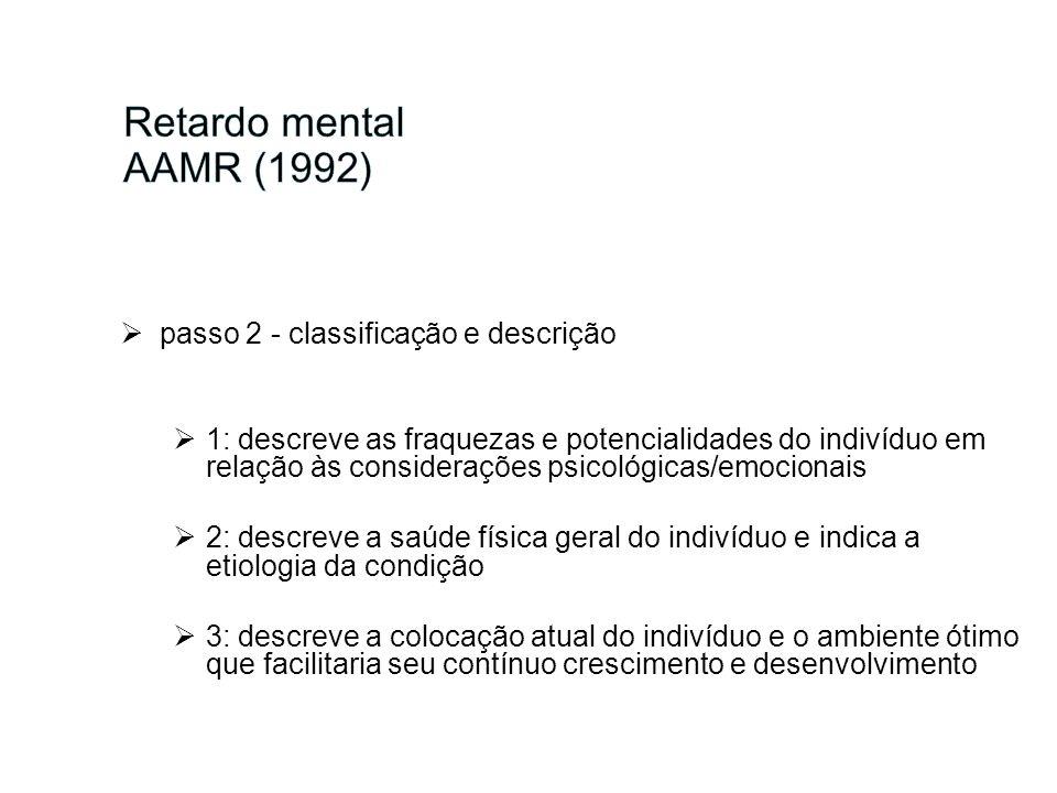Retardo mental AAMR (1992) passo 2 - classificação e descrição