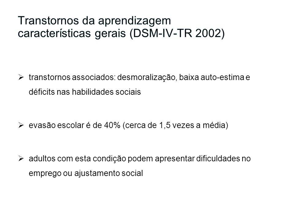 Transtornos da aprendizagem características gerais (DSM-IV-TR 2002)
