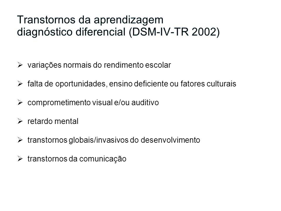 Transtornos da aprendizagem diagnóstico diferencial (DSM-IV-TR 2002)