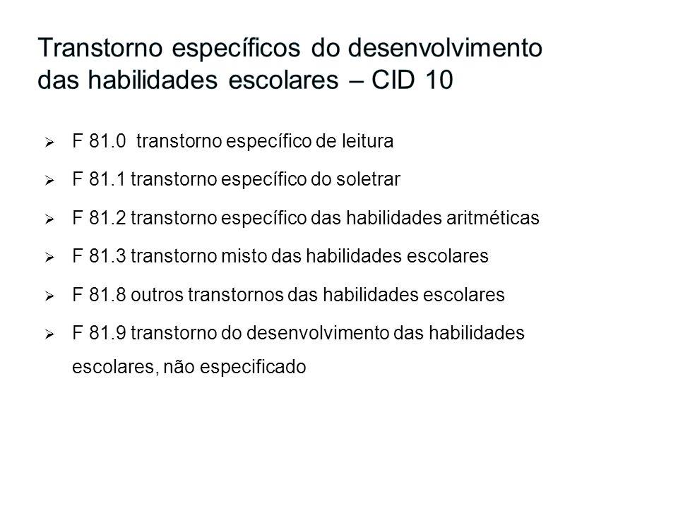 Transtorno específicos do desenvolvimento das habilidades escolares – CID 10