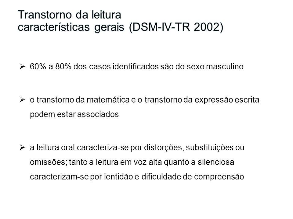Transtorno da leitura características gerais (DSM-IV-TR 2002)