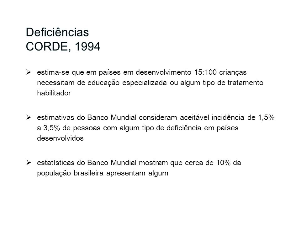 Deficiências CORDE, 1994