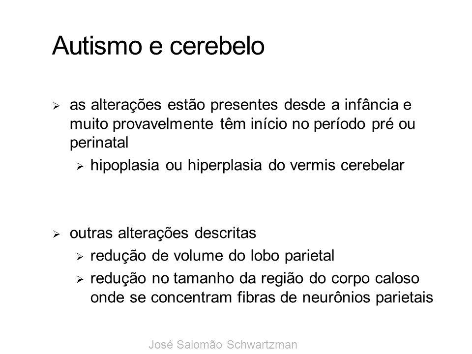 Autismo e cerebelo as alterações estão presentes desde a infância e muito provavelmente têm início no período pré ou perinatal.
