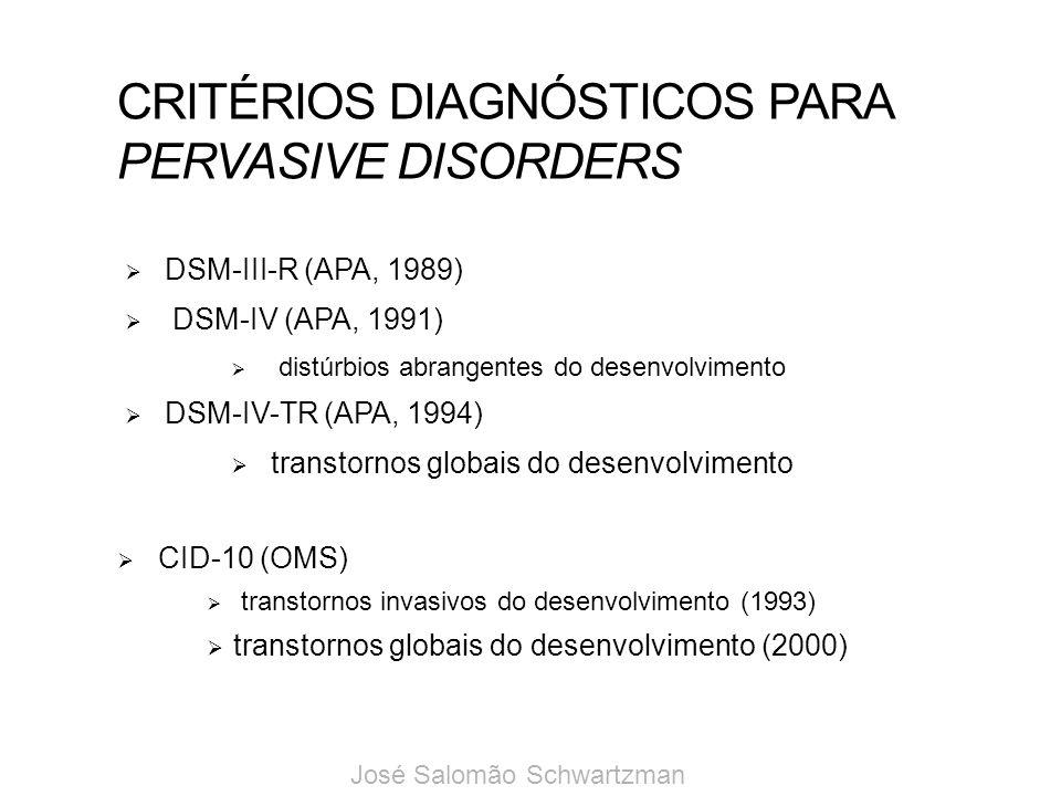 CRITÉRIOS DIAGNÓSTICOS PARA PERVASIVE DISORDERS