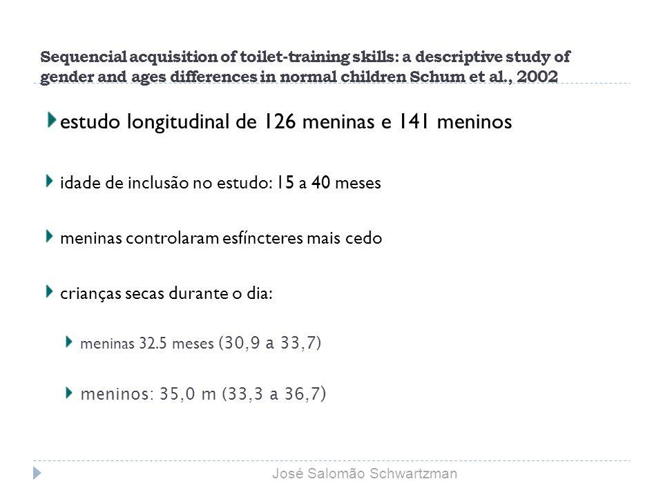 estudo longitudinal de 126 meninas e 141 meninos