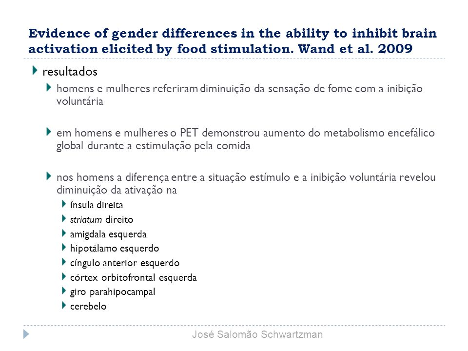 Evidence of gender differences in the ability to inhibit brain activation elicited by food stimulation. Wand et al. 2009