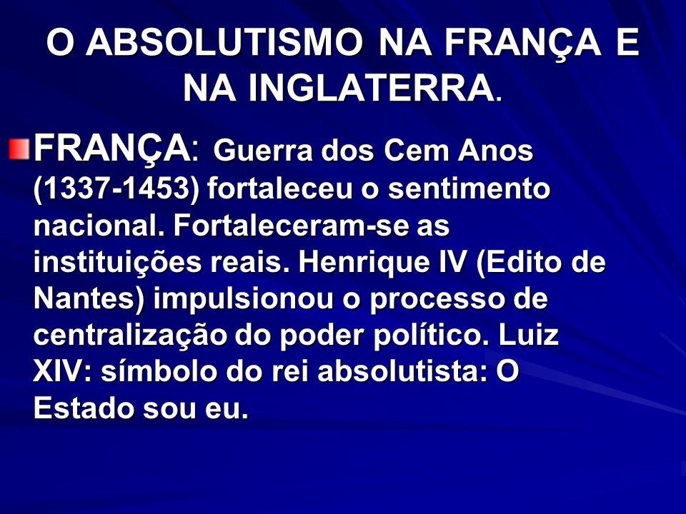 O ABSOLUTISMO NA FRANÇA E NA INGLATERRA.