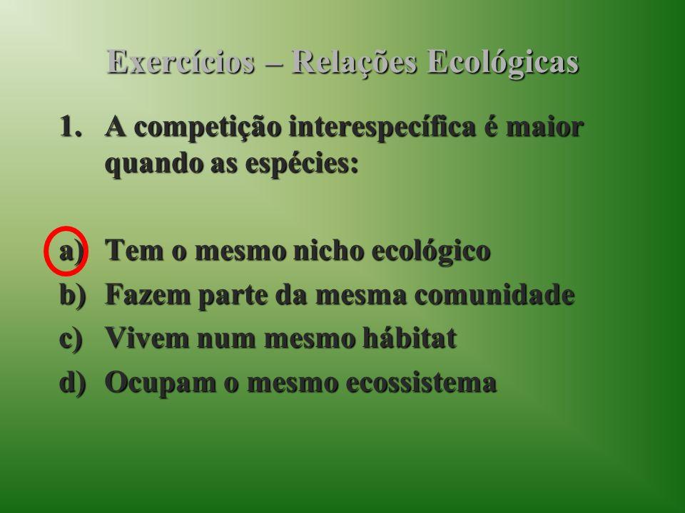 Exercícios – Relações Ecológicas